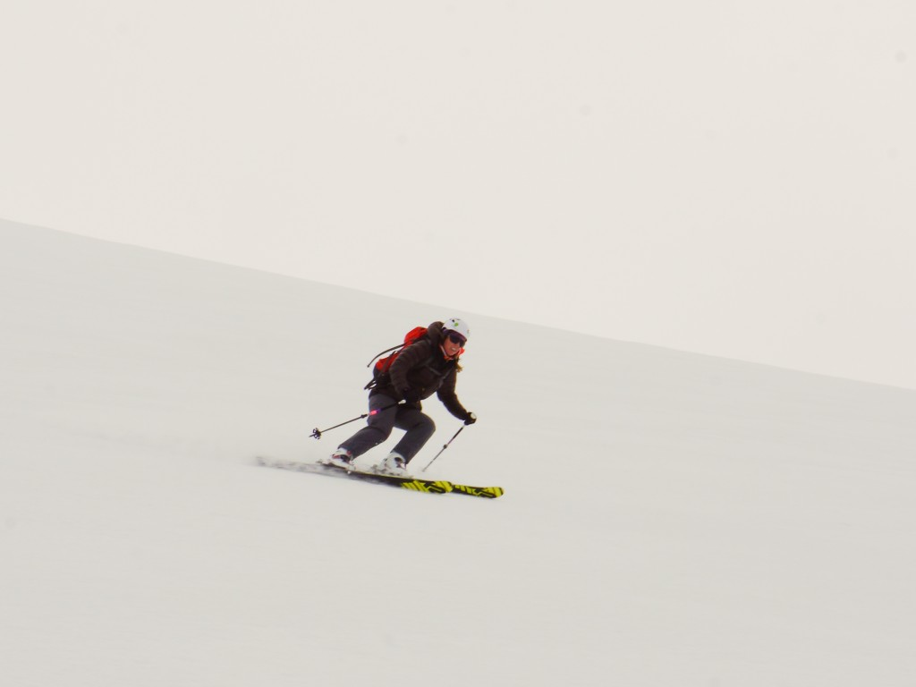 Holly doing for some me flat light windboard skiing. Photo: Zeb Blais.
