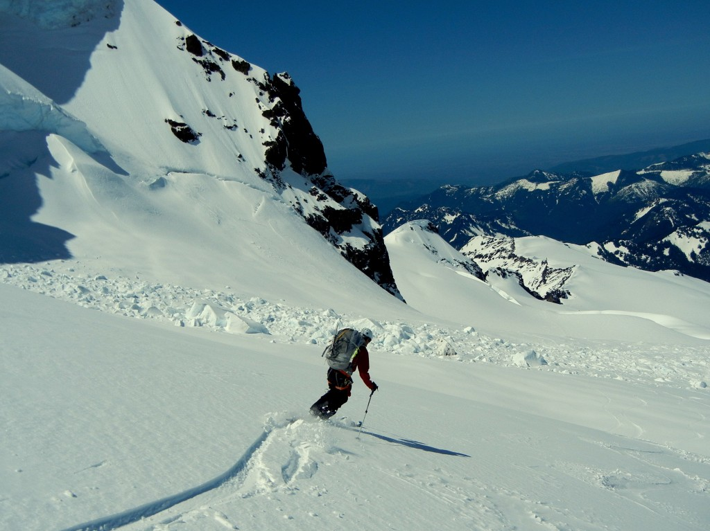 Skiing back onto the Coleman Glacier from the Deming. Photo: Zeb Blais.