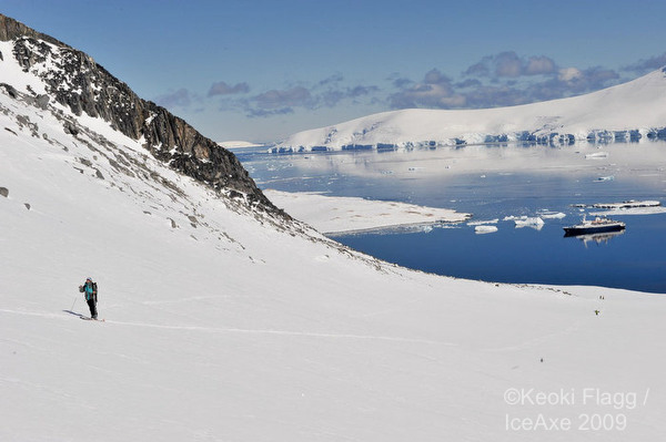 Skiing from the boat. Photo: Ice Axe