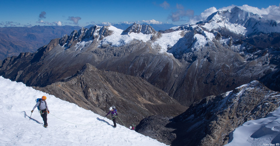 Climbers up high in the Cordillera Blanca.  Photo: Robby Young