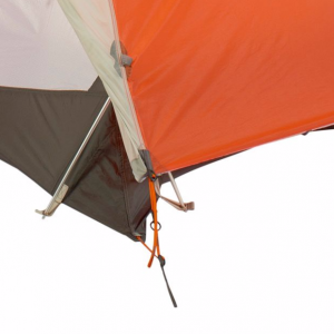Tent corner setup, strangle 2:1 pulley pulls hard on the tent stakes.
