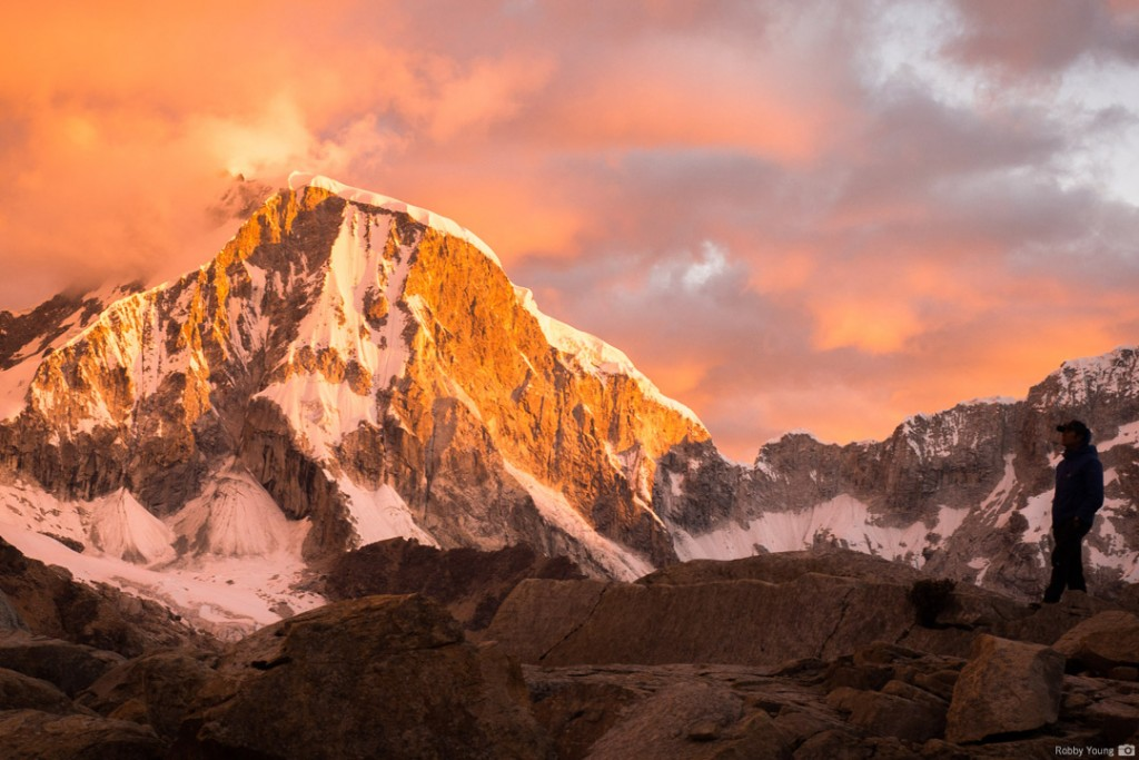 Sunset at Glacier Camp on Tacllaraju. Photo: Robby Young