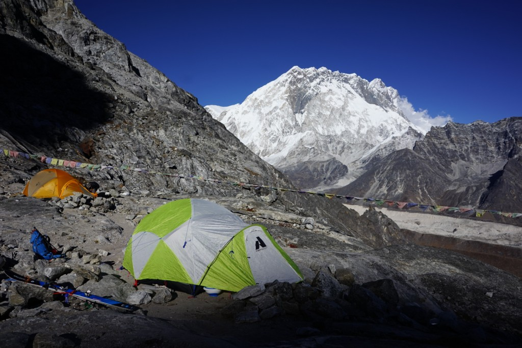 High camp on Lobuche East. Nuptse in the background. Photo: Zeb Blais.