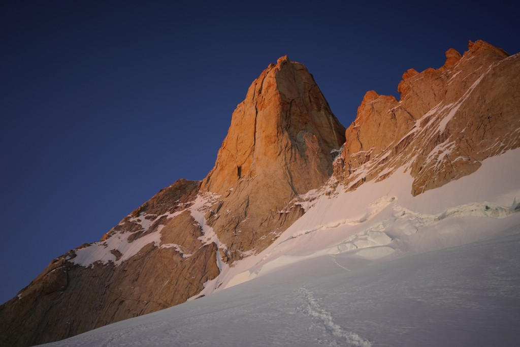 Climbing Patagonia. Poincenot. The Whillans ramp is the snow line on the left. Photo: Zeb Blais.