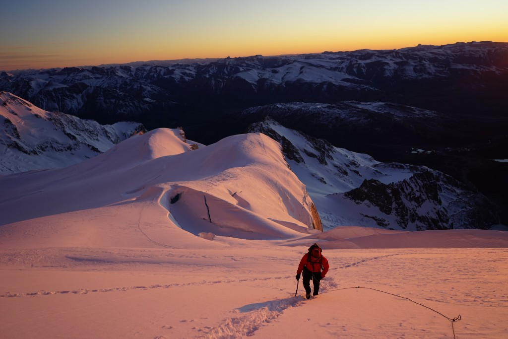 Climbing Patagonia, Photo: Zeb Blais. Early morning glacier approach to Poincenot.