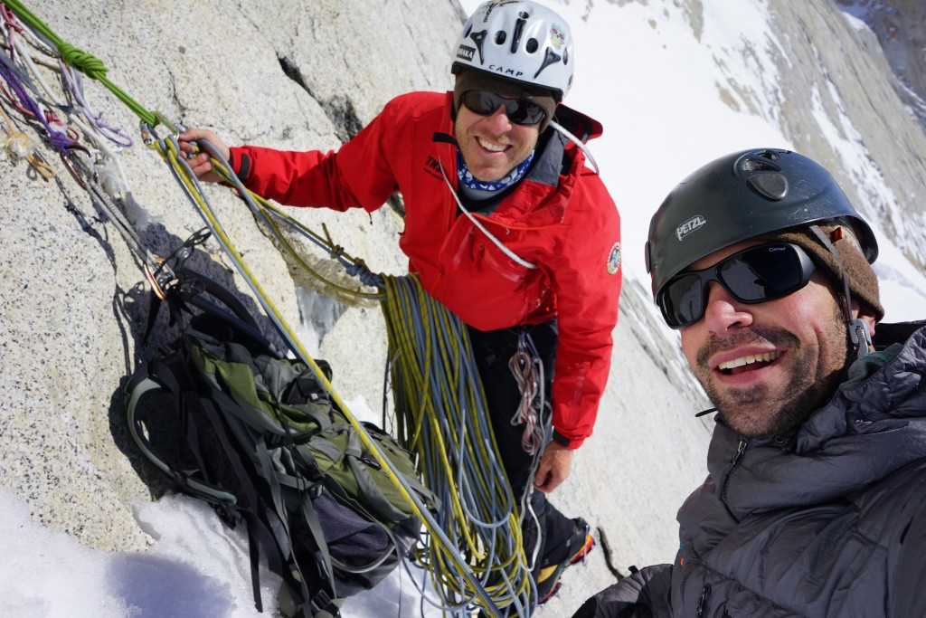 Climbing Patagonia. Jeb and I near our high point on Poincenot. Photo: Zeb Blais.