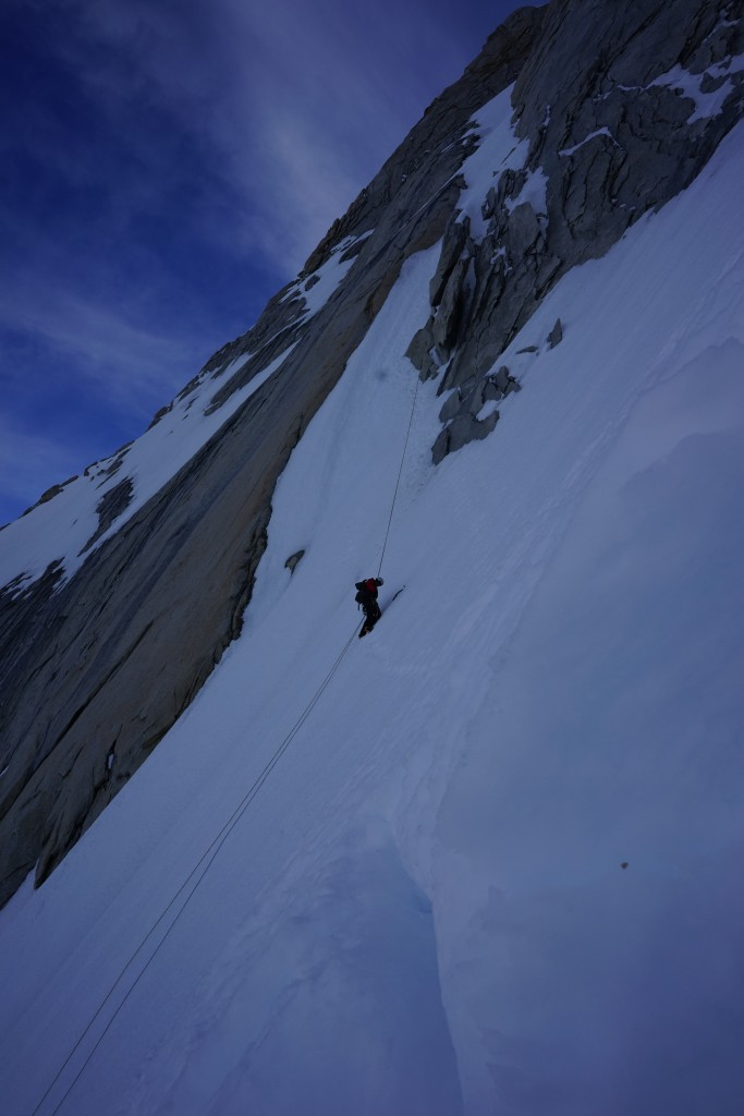 Climbing Patagonia. The last snow and Ice before the mixed section. Photo: Zeb Blais.