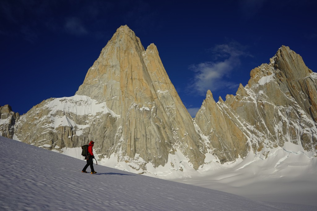 Climbing Patagonia. Heading north to Guillemet. Photo: Zeb Blais.