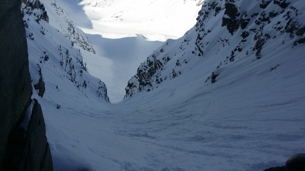 Rogers Pass. Staring down the gut of the Forever Young Couloir. Photo: Zeb Blais.