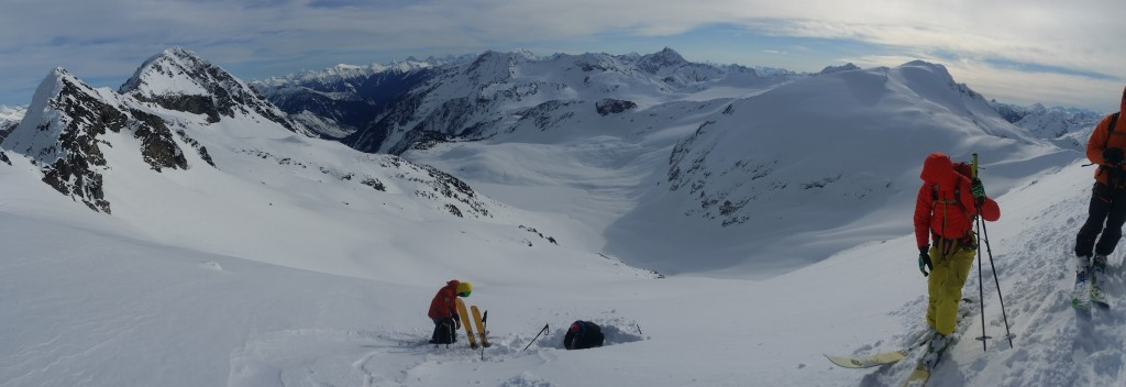 Rogers Pass. Evaluating the stability of the snowpack after a heli drop into Revelstoke National Park.