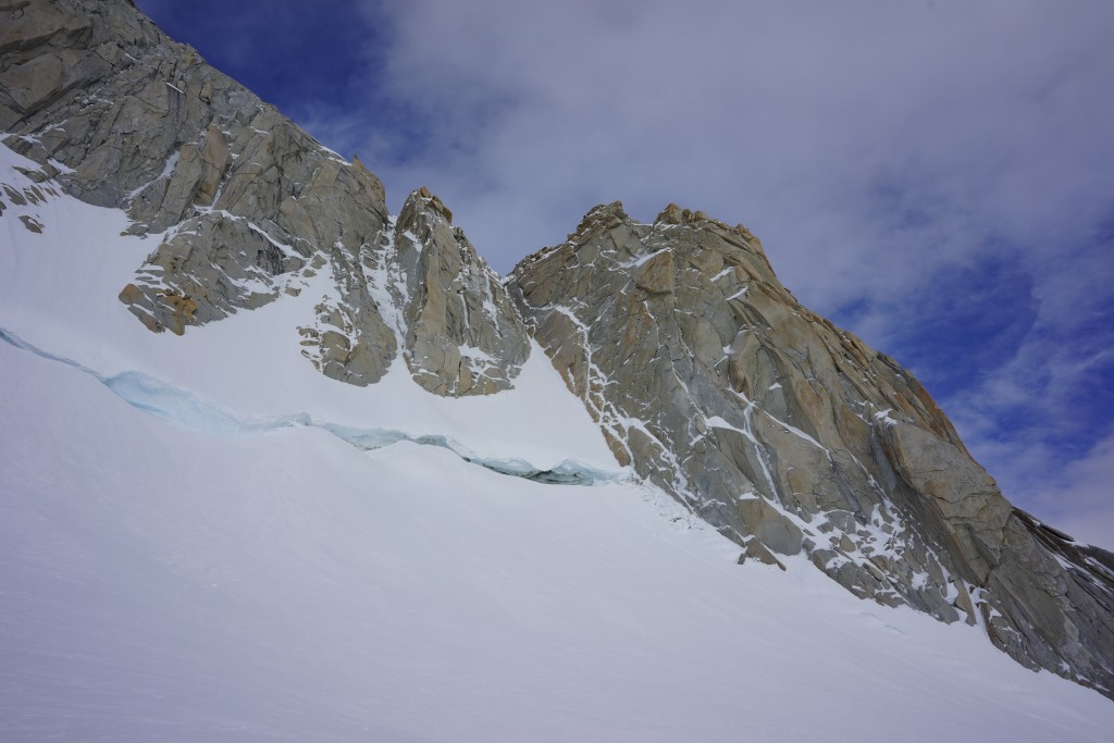 Climbing Patagonia. The Amy Vidallet on the right. We gainied the slope by climbing ice on the granite far climbers right in the picture. Photo: Zeb Blais.